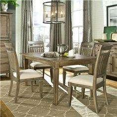 Brownstone Village 5 Piece Dining Set With Leg Table And Slat Back Side Chairs By