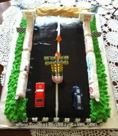 Homemade Drag Strip Birthday Cake: I made this Drag Strip birthday cake for my husband's 60th Birthday. He loves Drag Racing his 1981 Chevy Camaro Pro Stick Car. My daughter and nephew assisted