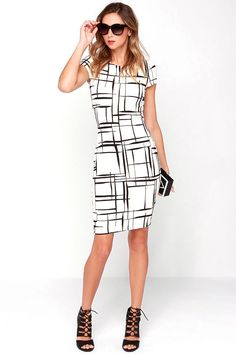 "While the Long and Drawn Out Black and Ivory Print Midi Dress is worth waiting for, you can have it on your doorstep in no time! A textured ivory stretch knit forms a curvy bodycon look with black lines ""drawn"" throughout, and short cap sleeves. Rounded neckline. Hidden back zipper."