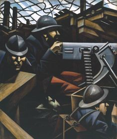Christopher Richard Wynne Nevinson, 'La Mitrailleuse' 1915  As a Futurist, Nevinson initially celebrated and embraced the violence and mechanised speed of the modern age. But his experience as an ambulance driver in the First World War changed his view.In his paintings of the trenches, the soldiers are reduced to a series of angular planes and grey colouring. They appear almost like machines themselves, losing their individuality, even their humanity, as they seem to fuse with the machine…