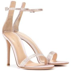Gianvito Rossi Portofino Embellished Satin Sandals (5.840 BRL) ❤ liked on Polyvore featuring shoes, sandals, heels, high-heel, pink, embellished sandals, embellished heeled sandals, heeled sandals, pink high heel shoes and high heeled footwear