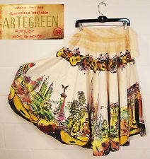 "Vintage ARTEGREEN 1950s Mexican handpainted circle skirt full 30"" W 33"" length"