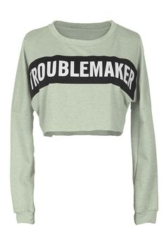 Trouble Maker Letter Crop Top is hot-Only $13.99! What another fine fall day! You may not need a warm sweater but you need to wear something that is just as light and pretty. Find more new arrivals at Cupshe.com