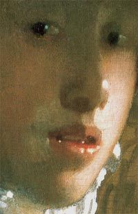GIRL WITH A RED HAT by Johannes Vermeer Detail. Vermeer's rendering of light on a face exquisite