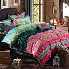 TideTex Boho Style Colorful Vintage Floral Ornament Duvet Cover Fashion  Rural Ethnic Bedding Flower Pattern Bedding Romantic Princess Home Textiles  (King, ...