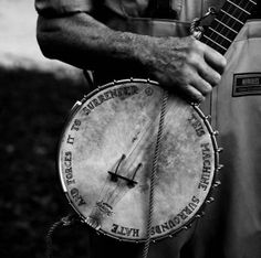 """bluegrass"" Correction- follk! This is Pete Seeger's famous 'protest banjo'. The message around the border of it is a sort of big giveaway!"
