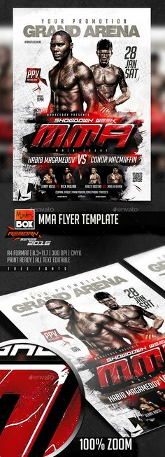 MMA Flyer Template - Flyers Print Templates Mma, Flyer Design Inspiration, Sports Graphic Design, Flyer Printing, Sports Flyer, Sports Images, Information Graphics, Creative Posters, Art Director