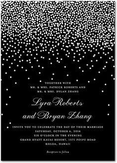 Diamond Sky - Signature White Wedding Invitations - Petite Alma - Black : Front