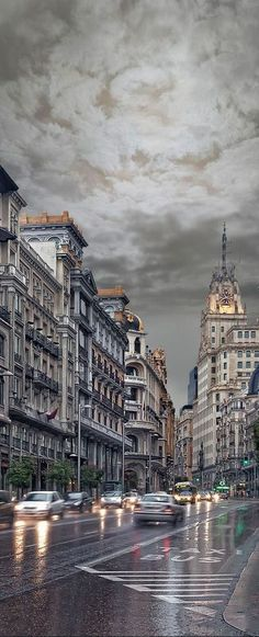 Rain in Madrid, Spain