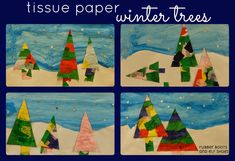colourful tissue paper winter trees
