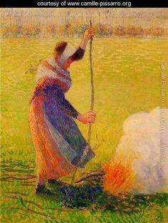 Woman Burning Wood - Camille Pissarro - www.camille-pissarro.org