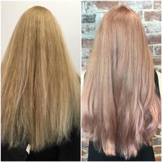 For this rose gold, Cassie Siskovic used 10SM + 40 Volume, then did an overlay of 8VM Demi + a dash of clear to dilute + 6RR (3 inches out of the tube). #KenraColor #MetallicObsession #RoseGoldHair