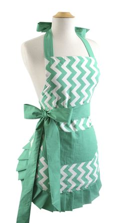 Flirty Aprons Womens Apron Original Chevron Teal Bow $36.95 AT vintagedancer.com