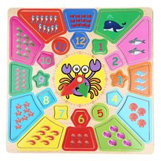 New Shape of Wooden Clock Building Blocks Toys Intelligence Toys for Upper 12 Month Child Rounded Cartoon Crab Clock Kids Toys