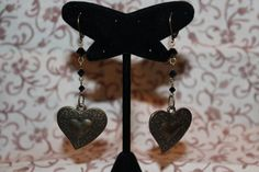 Antique Gold Hearts with Jet Black Crystals by GemsByJennie, $15.00