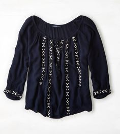 Navy AEO Embroidered Peasant Top