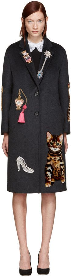 Dolce & Gabbana Grey Embroidered Coat