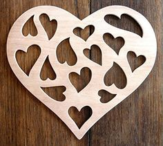 """Beautiful Large Sized Hand Crafted MDF 'Hearts Within A Heart' Plaque - 9.5"""" X 8"""" - 9mm Thick by Greg Ledder http://www.amazon.co.uk/dp/B018TMGO4Q/ref=cm_sw_r_pi_dp_gSVxwb04QCH81"""