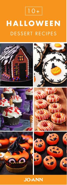 Talk about creative entertaining inspiration! This collection of 10+ Halloween Dessert recipes from Jo-Ann features everything from spooky gingerbread houses and creative cupcakes to traditional pumpk (Baking Desserts Halloween)