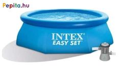 Fürdőzz egész nyáron az Intex Easy Set® felfújható medencében, amelyet könnyű felállítani és tárolni. Ez a medence olyan hellyé varázsolja a kertet, ahol a család pihenhet és játszhat. 10 perc alatt felállítható, egyszerűen sima talajon. Fújd fel, töltsd fel vízzel, és élvezzétek a szórakozást.    Jellemzői:  - 1 db 1,25m3/h Intex vízforgató egység  - 1 db szűrőbetét  - Erősített PVC medencetest  - 2db műanyagcső és a hozzátartozó bilincsek