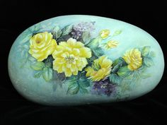 Floral painted rock