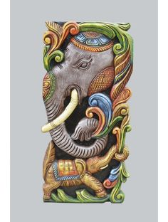 Elephant Head Wooden Wall Relief This is modern type and artistic work of wooden elephants head on the upper and the full elephant on the lower and the elephant's trunk holds the branch of the tree his tusk is larger and it is sharper to get rescue Cartoon Painting, Mural Painting, Mural Art, Wooden Elephant, Elephant Head, Wooden Art, Wooden Walls, Tanjore Painting, Painted Vases