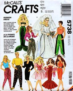 """McCall's 5738 Clothes for Fashion Dolls such as Barbie and Ken, Maie and Jazzie and other 11.5\"""" Fashion Dolls Sewing Pattern Vintage 1992 Mermaid Weddomg Dress *** You can find out more details at the link of the image."""