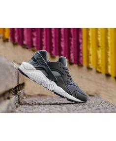 new concept d90a2 449dd Chaussure Nike Huarache Run GS Noir Gris Foncé Gris Blanche