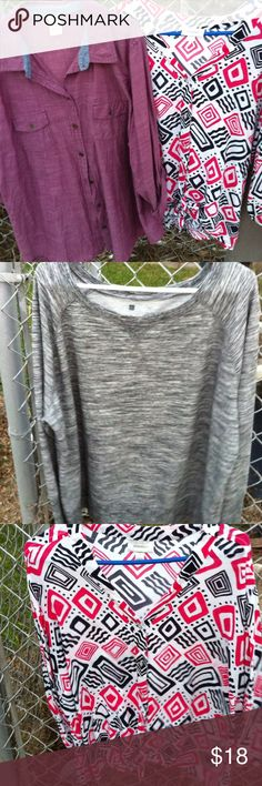 3 PC sz 2X Plus Lot/Great Bundle Deal 1 faded glory roll up sleeve top / 1  dress barn print top and 1  black gray sweat top all in very good condition  sz 2 x Dress Barn Tops Blouses