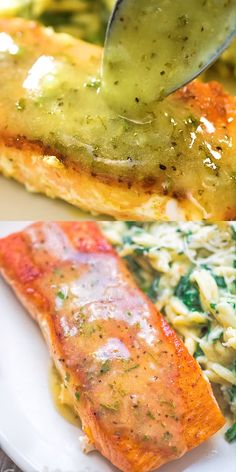 Salmon with Lemon Butter Sauce This Easy Lemon Butter Salmon recipe makes an elegant and delicious dinner. Seared in a skillet on the stove top and ready in under 20 minut Baked Salmon Recipes, Seafood Recipes, Dinner Recipes, Cooking Recipes, Healthy Recipes, Recipes For Salmon Filets, Recipes With Fish, Salmon Recipes Stove Top, Salmon With Skin Recipes