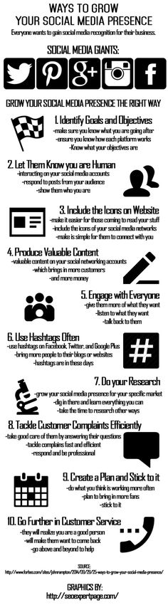 Ways to grow your Social Media presence #infographic