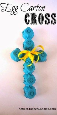 Katie's Crochet Goodies and Crafts: Egg Carton Cross Craft Easy & Fun Easter Crafts For Kids - Egg Carton Cross Craft for Kids art project Want excellent suggestions regarding arts and crafts? Easter Activities, Preschool Crafts, Crafts Toddlers, Children Crafts, Preschool Ideas, Easter Crafts For Kids, Crafts To Do, Easter Ideas, Egg Carton Crafts