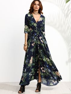 Shop Navy Floral Print Half Sleeve Button Front Dress online. SheIn offers Navy…