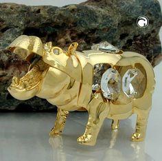 Nilpferd mit Kristall-Glas, gold-plattiert