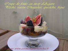 Coupe de fruits au sirop d'Agave, Pêche, raisin Chasselas, quetsche, figue *Rubrique Cuisinons léger* Jaclyne www.cuisineetgourmandise.fr