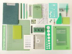 monochomatic collages of office and design supplies by Sweden's Kontor Kontor