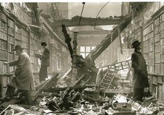 London readers continue to browse at Holland House Library after an air raid. bombed-out library, WWII. Photographed in (Full historic record shows Fox Photos Limited as the copyright holder. Old London, West London, Kensington London, Blitz London, Vintage London, London City, London Bus, Retro Vintage, London Bookstore