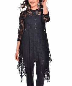 Look what I found on #zulily! Black Lace Handkerchief Cardigan - Plus #zulilyfinds