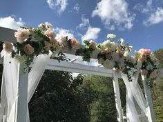 White Wedding Arch Decorated- DIY Rentals Terre Haute