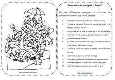 Lire et comprendre les consignes (fin CP) Comprehension Activities, Reading Activities, Reading Comprehension, Education And Literacy, French Education, French Teacher, Teaching French, French Practice, Back Up