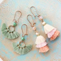 BEAUTIFUL earrings with 3-layer tassels and tassel charms