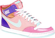 Color blocking neon brights & pastels from Nike Air Royalty High Tops. Lush.
