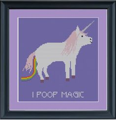 I poop magic: unicorn cross-stitch pattern. $3.00, via Etsy.
