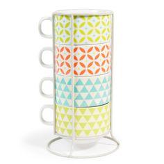 4 mugs en porcelaine + support ...