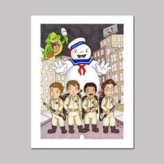 Ghostbusters Cartoon Art Print by Beckadoodles on Etsy