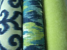 Your place to buy and sell all things handmade Green And Purple, Shades Of Green, Dark Brown Sofas, Hallway Colours, Both Sides, Home Decor Fabric, Toss Pillows, Ikat, Indigo