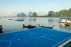 This would make me take up football > A floating pitch at Ko Panyi Muslim stilt village in southern Thailand.