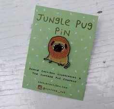 'Jungle Pug' enamel pin designed by Sophie Corrigan, part of the 'pugs in fancy…