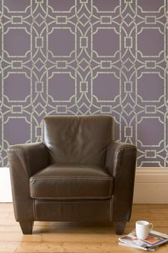 Soft Purple walls stenciled with Modern Trellis Stencil | Modern Wall Stencils | Contempo Trellis Stencil | Royal Design Studio