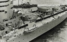 16 in main armament turrets of HMS Nelson, all grouped forward of the bridge: she and sister Rodney were 'cut down' from an intended 5 turret design as a result of the 1922 Washington Treaty, which limited future capital ship displacement.